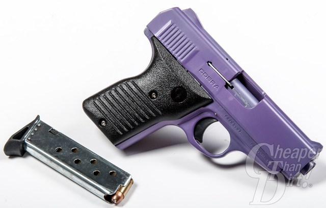 Picture shows a black and purple .380 semi-automatic handgun with a steel magazine beside it.