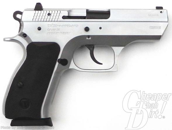 Black handled, silver barreled compact 9mm, barrel pointed to the right on a white-to-light gray background defensive handgun