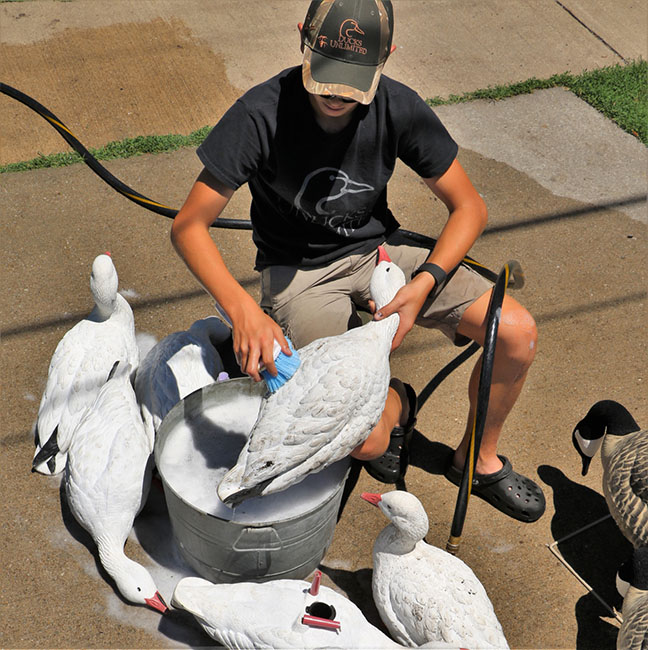 boy washing waterfowl decoys