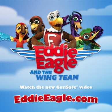 Eddie Eagle from NRA's GunSafe Program with four more cartoon characters