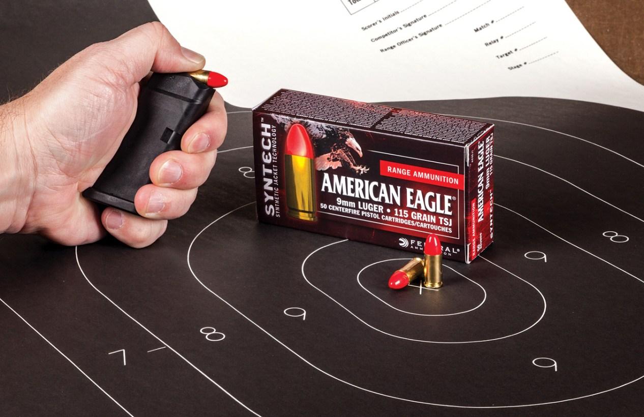 American Eagle ammunition box on a sillouhette target