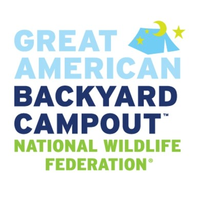 Picture shows NWF's Great American Backyard Campout logo in green, light blue and dark blue.