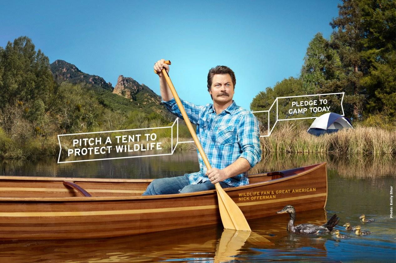 Parks & Recreation star, Nick Offerman paddling a canoe