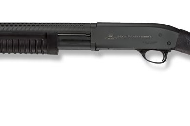 Picture shows a black, pump-action shotgun.