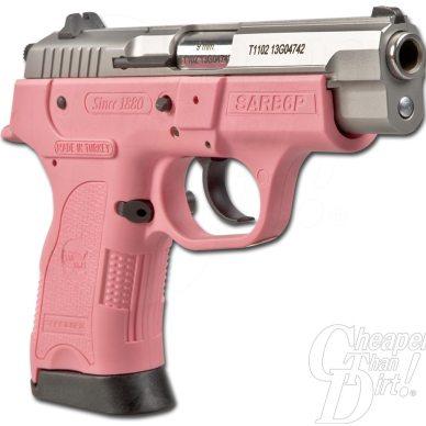 Picture shows a pink SAR B6 Pavona 9mm handgun.