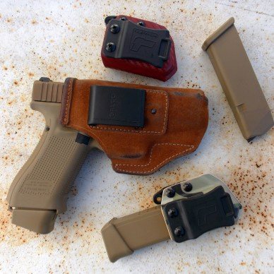 Glock 19X pistol in Glaco Stow and Go leather holster