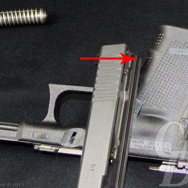 Glock slide atop the frame