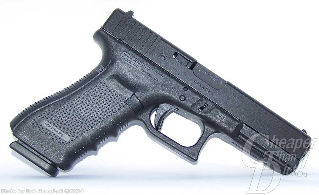 Glock 17 Gen 4 barrel pointed down and to the right on a white background.