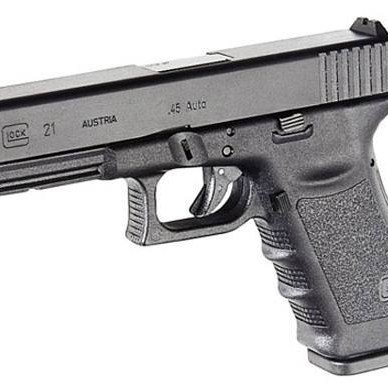 Black GLOCK 21 barrel pointed to the left on a white background