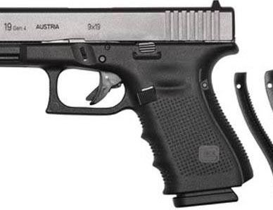 Black GLOCK 19 Gen 4, barrel pointed to the left on a white background.