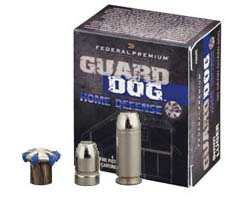 Black box of Guard Dog 40 SW ammunition with 3 silver bullets on front of the box on a white background