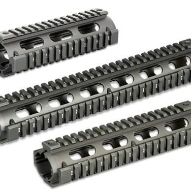 Three samples of handguard lengths in gunmetal gray