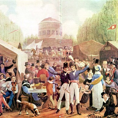 This picture is a painting by John Lewis Krimmel showing a July 4 celebration in 1819.