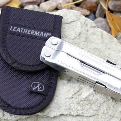 Leatherman Rebar with case set on a rock