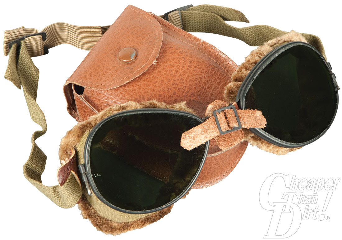 Picture shows a worn pair of military surplus ski goggles.
