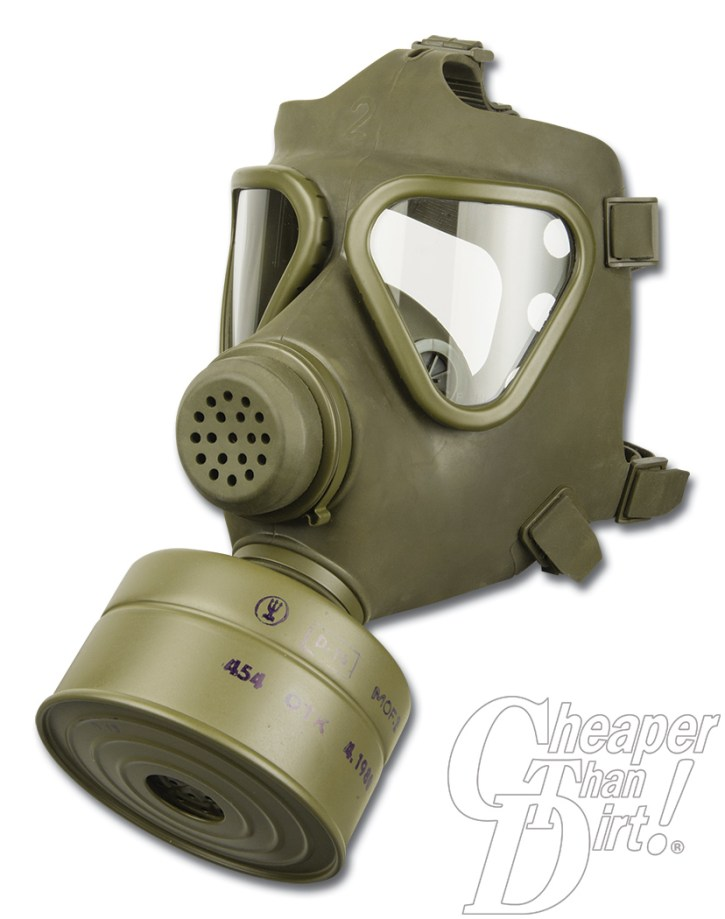 Picture shows an OD green military surplus German M65 gas mask with filter.