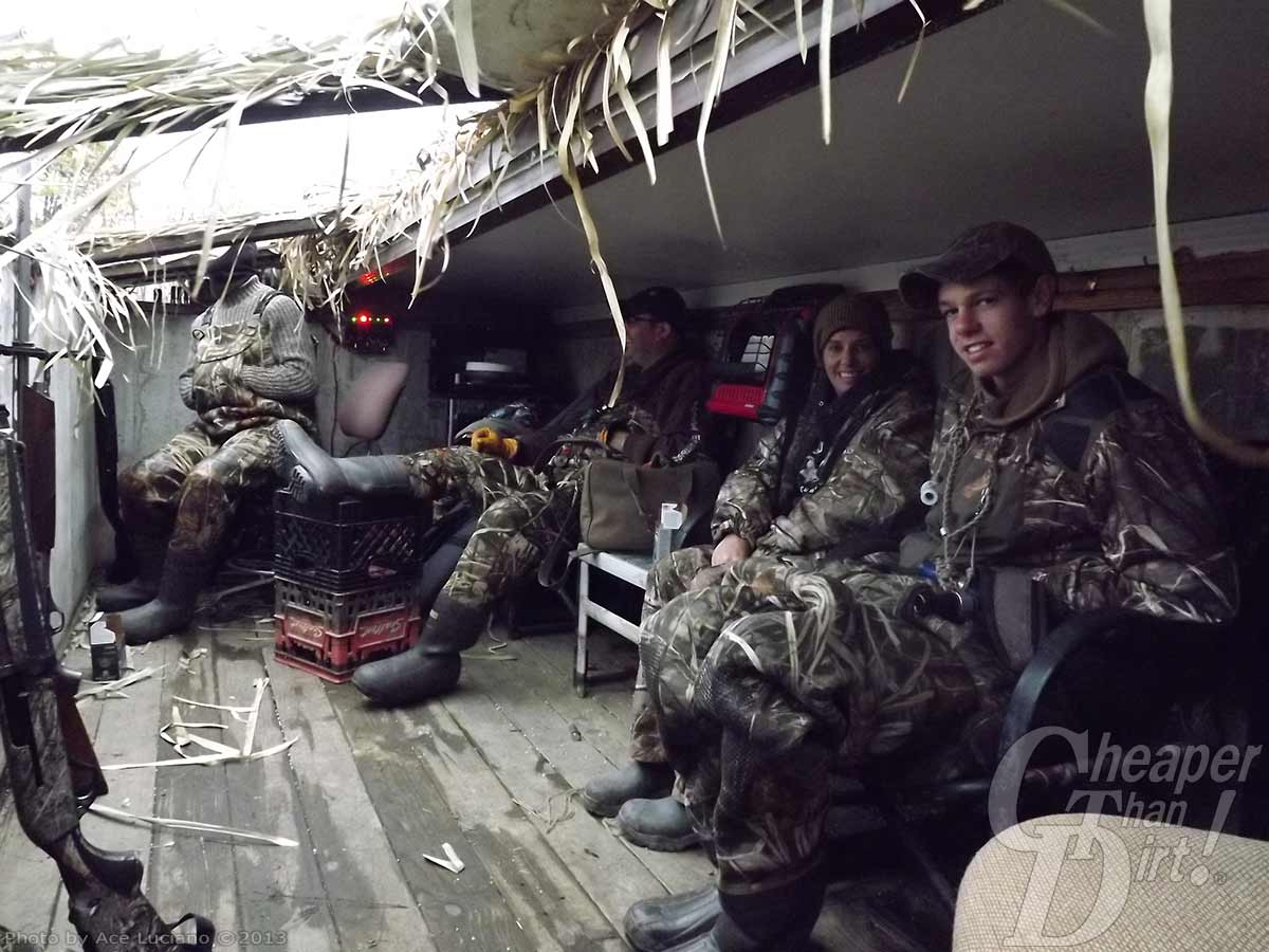 4 camo-clad hunters head out on a hunting trip