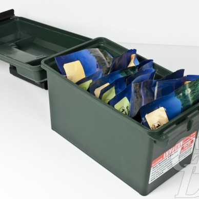 Mountain House foods packed in a plastic ammo can.