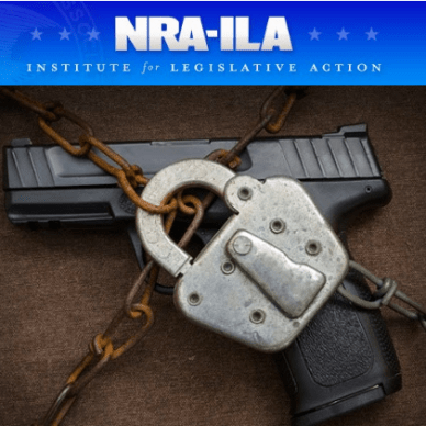 NRA-ILA with padlock and chain around a handgun