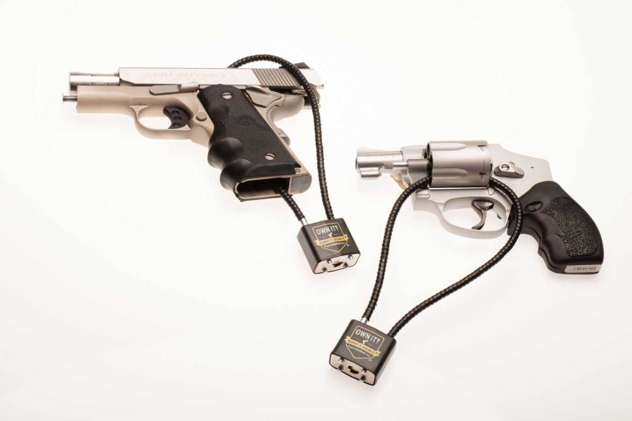 Handguns with Project ChildSafe cable locks