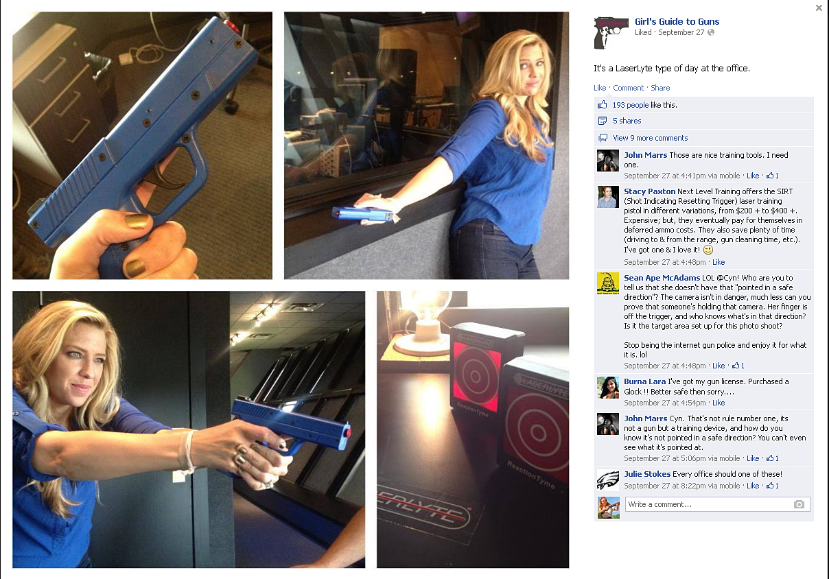 Picture shows a screen shot of Girls Guide to Gun's Facebook post.