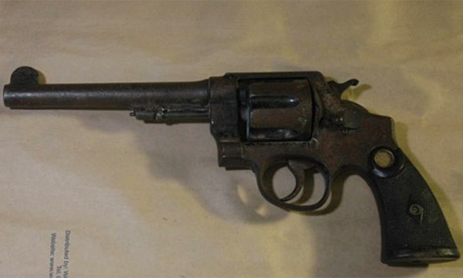 Old long barrel revolver