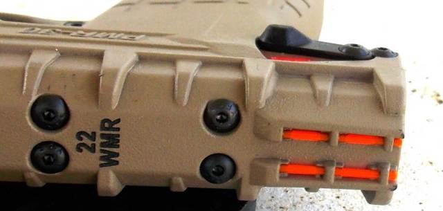 Orange fiber optic rear sight of the PMR-30