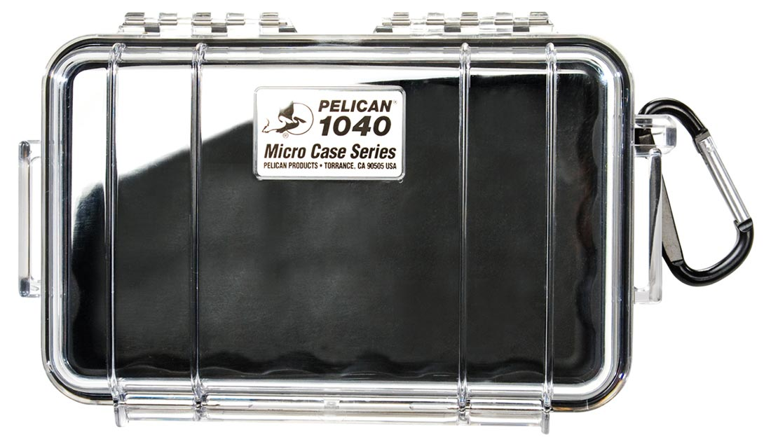 Picture shows a clear watertight case with black foam lining inside.