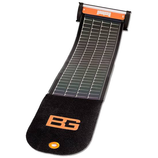 Solar charger in black with orange accents on a white background.