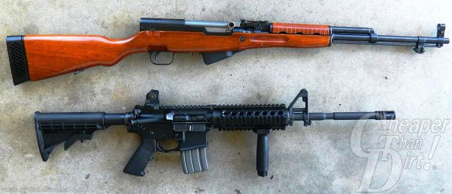Two rifles, wood-grained SKS on top and AR-15 on the bottom, against a light gray background