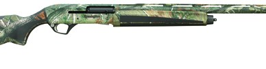 Remington VERSA MAX Realtree camo version, barrel pointed to the right on a white background