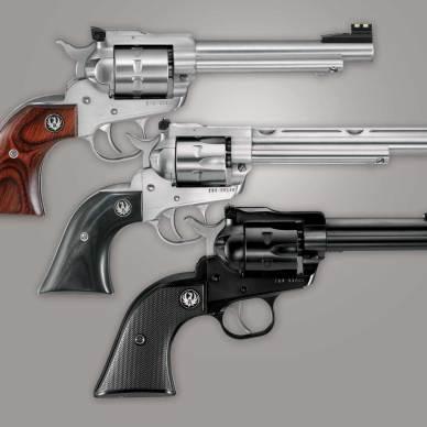 Three Ruger Single Six revolvers