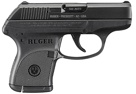 Picture shows the compact Ruger LCP semi-automatic handgun.
