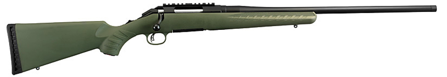Picture shows a Ruger American bolt-action rifle with a moss green synthetic stock.