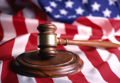 Gavel with American flag