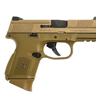 9mm FNS compact pistol right profile tan