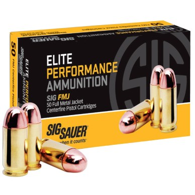 Black and gold box of ammo from SIG Sauer