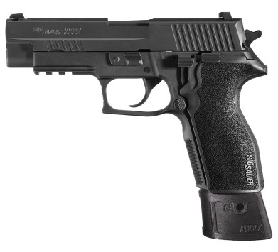 Picture shows an all-black handgun with extended magazine inserted.