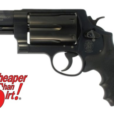 Black Smith & Wesson Governor, barrel pointed to the left on a white background