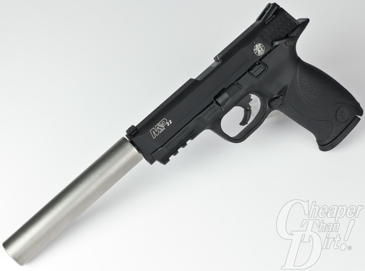S&W M&P 22 threaded barrel model with a suppressor