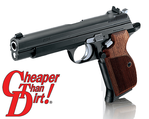Black barreled, brown gripped SIG SAUER P210 Legend on a white-to-gray background, barrel pointed to the left