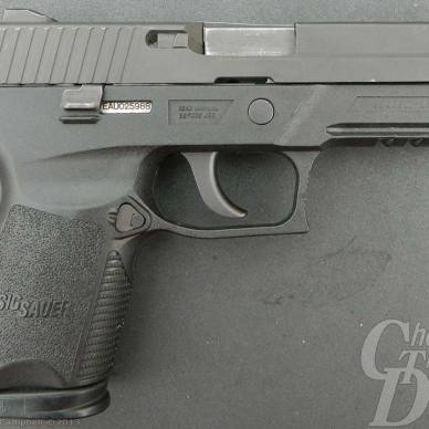 A gray SIG P250, right facing muzzle on a light gray background.