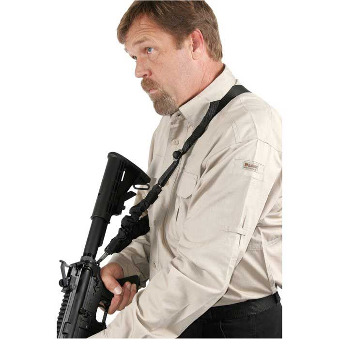 AR-15 rifle with single point sling