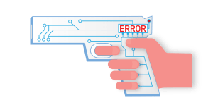 Graphic of a smart gun showing an error