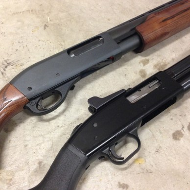 Mossberg 500 and Remington 870 side by side