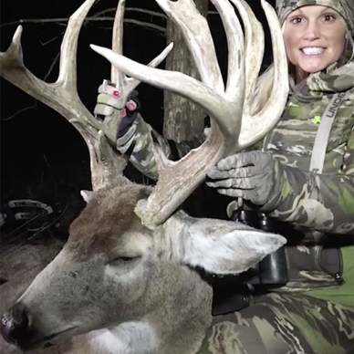 Tiffany Lakosky with her 181 inch trophy whitetail buck.