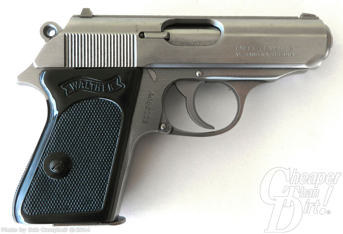 Black-handled, silver barreled Walkter PPK, barrel pointed to the right on a white background.
