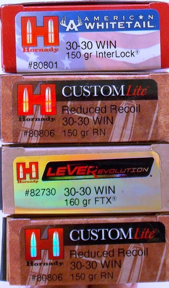 Hornady .30-30 ammo boxes stacked