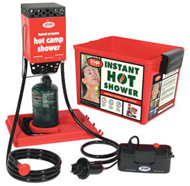 Picture shows a red, propane-powered hot water heater.
