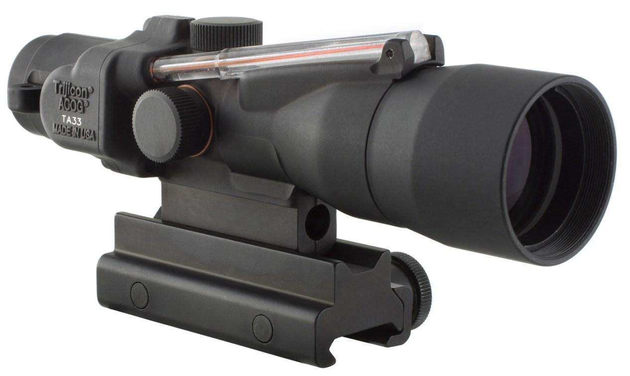 black ACOG rifle scope